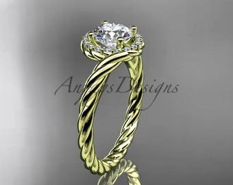 14kt yellow gold halo rope diamond engagement ring RP8379