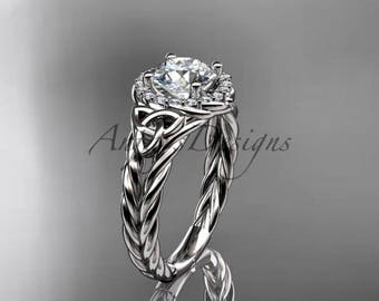 """14kt white gold halo rope celtic triquetra engagement ring with a """"Forever One"""" Moissanite center stone RPCT9131"""