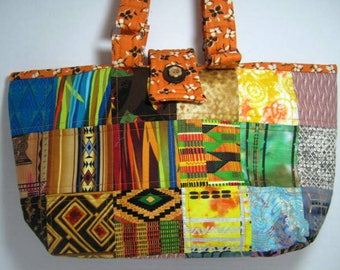 Knitting Crochet Ethnic African Tribal Fabric Quilted Craft Tote,  JDCreativeHands