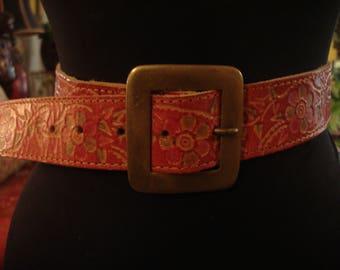 Vintage Boho Gypsy Red Flower Power Tooled Belt