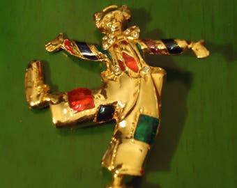 Vintage Gold Dancing Clown Pendant