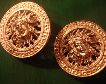 Vintage Round Gold Sun Goddess Clip Earrings