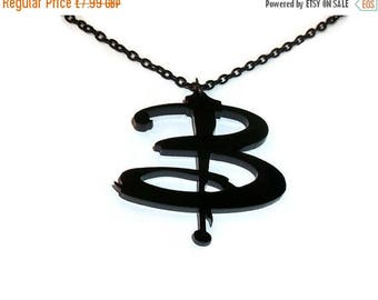 Buffy Necklace, Buffy the Vampire Slayer, Black B Pendant, Buffy Logo Laser Cut