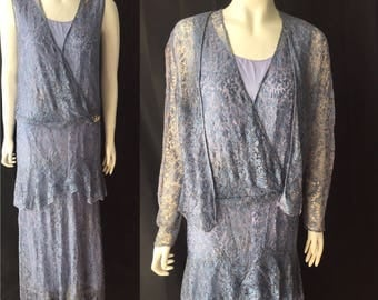 1930s blue lace evening gown with jacket