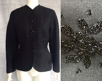 New look era 1950s fitted blazer with beaded pockets