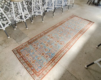 Vintage Persian Runner Malayer Rug Handwoven Wool Low Pile Persian Runner - FREE DOMESTIC SHIPPING