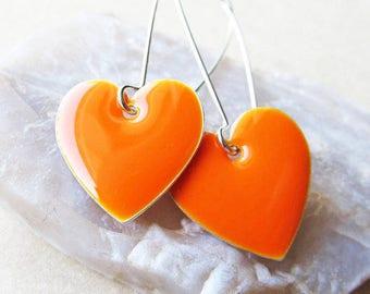 Dangle Drop Earrings - Tangerine Orange Epoxy Enamel Hearts - Sterling Silver Plated over Brass (F-1)