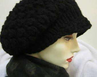 black hat in merino cashmere handknit - size S/M