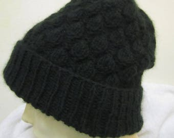 cashmere hand knit hat -s ize S/M- dark green