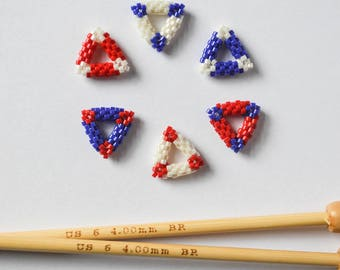 Red White and Blue Bead Woven Triangle Stitch Markers US Size 5 3.75mm Needles and Smaller Knitting Notions Gifts for Knitters
