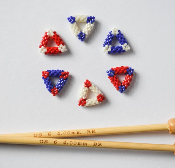 Red white and blue bead woven triangle stitch markers us for Black pearl tattoo clayton nc