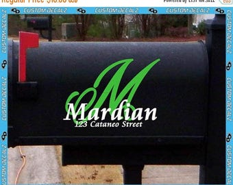 "ON SALE NOW 6"" tall Mailbox Initial w Name and Address Vinyl Mailbox Decal / Last Name Decal / Home Decal / Family Name Decal"