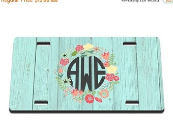 ON SALE NOW Barnwood Floral Printed Monogram License Plate / Gift Idea / Gifts for her / New Driver / Car Accessories / New Car