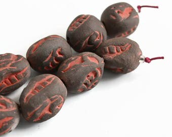 Charcoal, grey, red,  red and grey textured beads, textured beads, ceramic beads, handmade beads, beads from South Africa, art beads