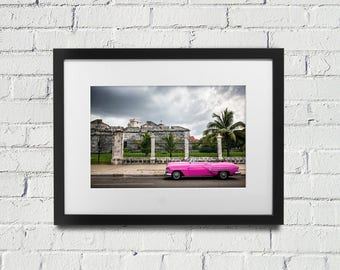 Havana Cuba Pink Vintage Car - Photograph of an old pink car in Havana, Cuba