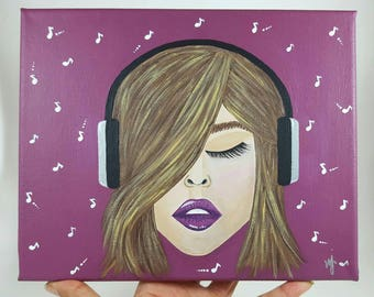Girl with headphones, music notes, painted canvas, in the zone