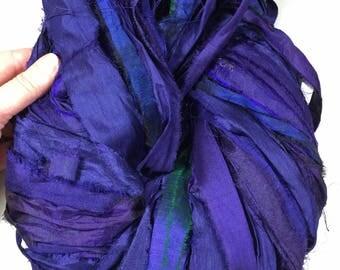 Recycled Sari Silk Ribbon Dark Navy Blue/ Purple Tassel Ribbon Dreamcatcher Jewelry Eco Gift Wrap Prayer Flag Garlands Fiber Art Supply