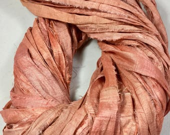 New Recycled Sari Silk Ribbon Pastel Salmon Jewelry Tassel Dreamcatcher  Eco Gift Wrap Garland Weave  Fair Trade Fiber Art Supply
