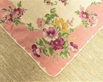 Pink Flower Hankie - Vintage Floral Bouquet Handkerchief