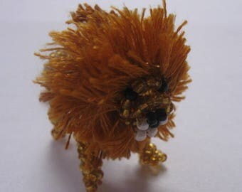 Miniature lion seed beads and copper wire