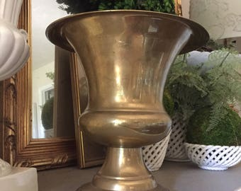 Vintage Heavy Solid Brass Champagne Bucket Brass Ice Bucket Brass Urn Brass Barware