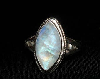 Big Sale/925 Solid Sterling Silver Natural Rainbow Moonstone Rose Cut Faceted Marquise Gemstone Ring / Size US 6.50 / Semi Precious Stone Ri