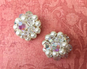Pretty 1950's Pearl and Crystal Earrings by Marvella