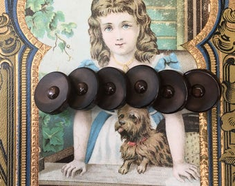 6 Pretty Vintage Chocolate Brown Plastic Buttons