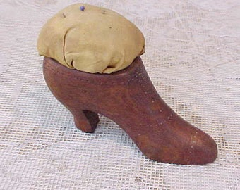 Wonderful Antique Carved Wooden Lady's Shoe Pincushion
