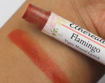 """Vegan Coral Lipstick - """"Flamingo"""" (semi-sheer coral mineral lipstick tint) natural lipstick balm, lip colour"""