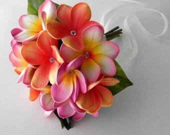 Real Touch Tropical Plumeria Bridesmaids Bouquet- Toss Bouquet - Choose Your Colors.