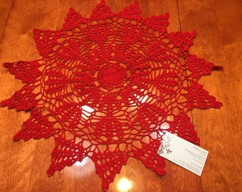 Vintage Red 20 inch hand crochet doily for kitchen, christmas, holiday, housewares, home decor, decorations, valentines by MarlenesAttic