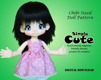 Chibi Size Simply Cute Lolita Dress clothes pattern for Kinoko Juice BJD KikiPop Fashion Doll
