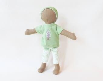 "Little hemp linen doll, 11"" brown soft cloth doll, gender neutral multi cultural doll, tree shirt, waldorf inspired doll, faceless doll"
