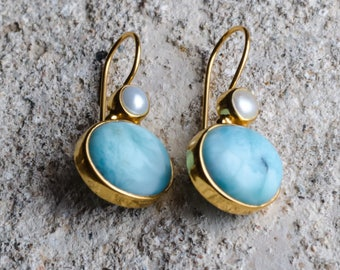 Larimar and pearl earrings