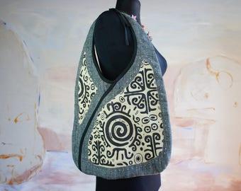 Denim Jean Bag, Boho Bag, Shoulder Bag, , Blue Jean Bag, Recycled Jeans Tote Bag, Summer Tote Bag, Bag, Vintage Denim Bag, Handstitched Bag