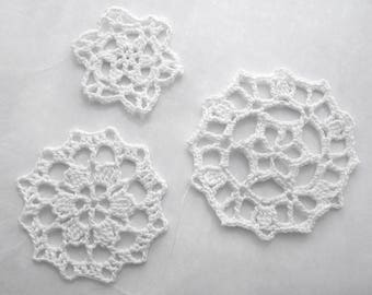 Lace Snowflake Ornaments, White Round, Set of 3 - Crochet Holiday Winter Decor Elegant Modern Cottage Traditional