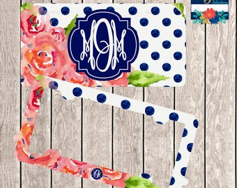 License Plate Frame Set ~ Monogram Plate Frame ~ Monogram Car Tag ~ Floral License Plate ~ Navy Blue Car Tag ~ Front Vanity Plate ~ 2 Frames