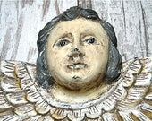 Antique Wood Santos with Glass Eyes and Angel Wings, Hand Carved Religious Wall Hanging circa 1800's
