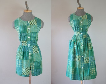 1950's Green Print Playsuit and Skirt Set / Size Small