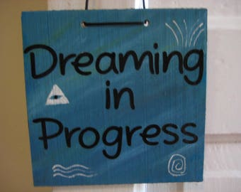 Dreaming In Progress sign, Tree of Life picture, Meditation Sign, Do Not Disturb, Shaman Active Dreaming
