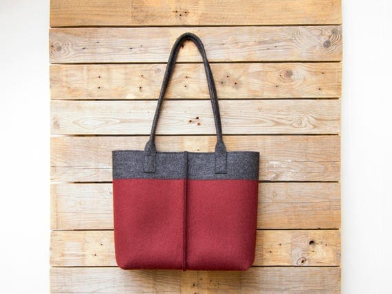 Wool Felt TOTE BAG / bicolor tote bag / womens bag / felt shoulder bag / carry all bag / burgundy bag / made in Italy
