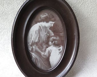 Vintage Oval Frame Brown Metal Mother Child Picture Circa 1920 5.5 x 7.5 Family Photos Genealogy Cottage Chic Decor Needlecraft Holiday Gift