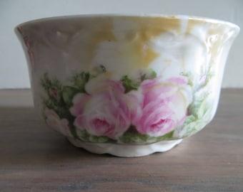 Vintage German porcelain bowl, pink roses pattern, candy trinket dish, fine china, home decor