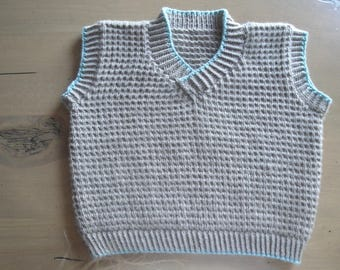Hand Knit Pullover Sweater Vest, Baby Boy 6-9 Months, Brown & Green, Sleeveless Sweater Waistcoat Tank, Merino Wool Cashmere