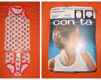 DEADSTOCK Boy's Underwear Set 1970s Unworn Bright Abstract Pattern Cotton Undershirt and Briefs NIP German Conta Mod Orange sz 116