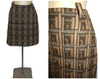 Vintage 1960s 70s Wool Miniskirt Mod Geometric Pattern Brown Tan Gray German Mod Boho Skirt S waist to 25.5 inches