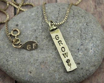 2-Sided Brass, Personalized, Vertical Swivel Bar Pendant on a 16 to 24-Inch, 14K Gold Filled, Bead or Box Chain, Everyday Necklace