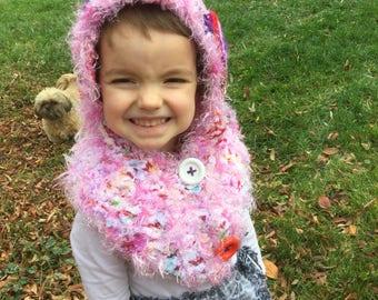 Pixie hat child, freeform crochet, handmade