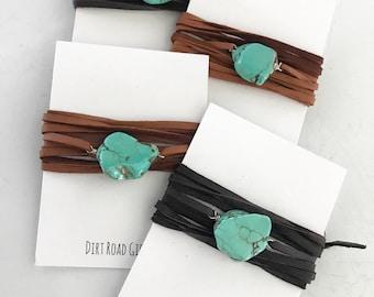 turquoise wrap choker/bracelet